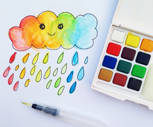 cloud, draw, and rainbow image