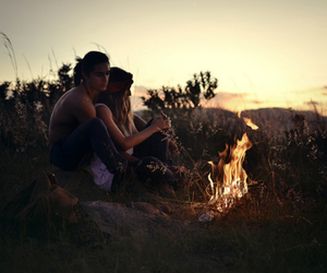 couple, fire, and photo image