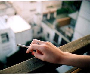 cigarette, smoke, and hand image