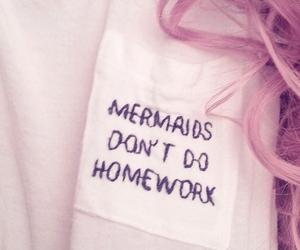 mermaid, homework, and hair image