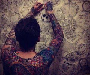 tattoo, boy, and skull image