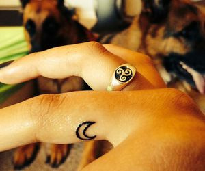 fingers, moon, and tattoo image