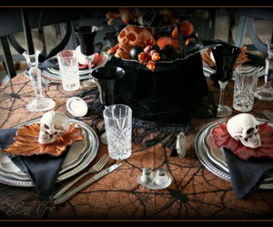 decor, Halloween, and table scape image