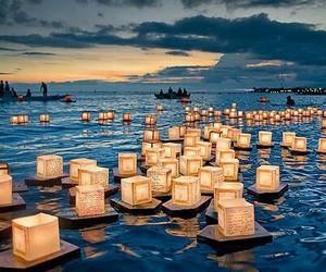 light, sea, and lantern image