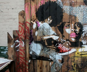 Afro, black woman, and art image