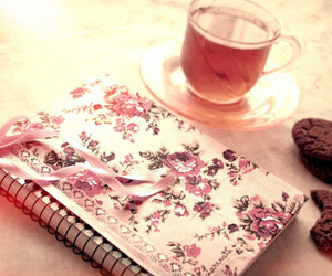 tea, notebook, and Cookies image
