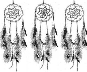Dream, dream catcher, and feathers image