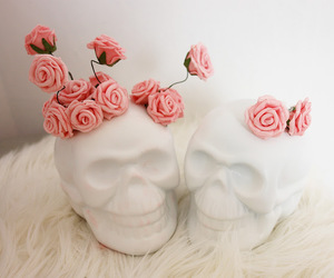 rose, skull, and flowers image