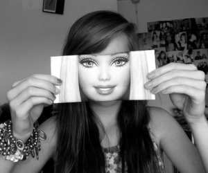 barbie, girl, and black and white image