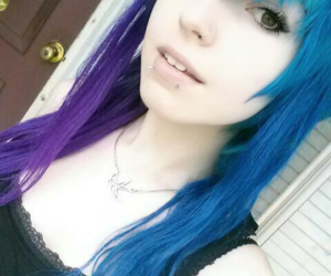 blue hair, body mods, and gauges image