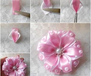 diy, ribbon, and ribbon flower image