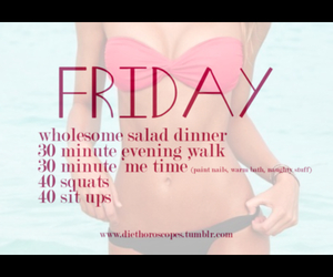 friday, workout, and diet image