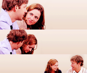 jim and pam, the office, and pam and jim image