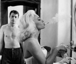 blonde, woman, and cigarette image