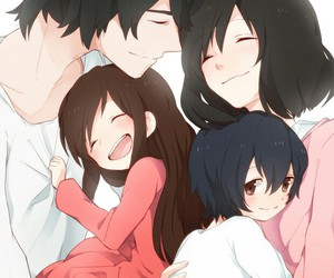 anime, wolf children, and family image