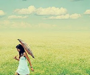 girl, umbrella, and clouds image