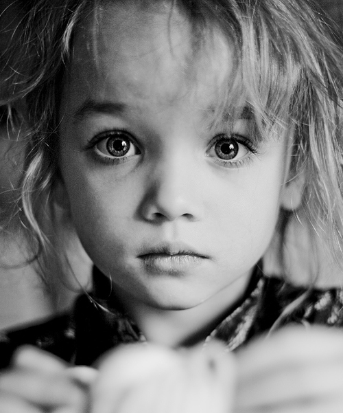 Black and white child expressive eyes face portrait inspiring picture on favim com