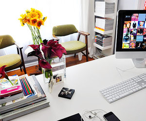 computer, desk, and flowers image