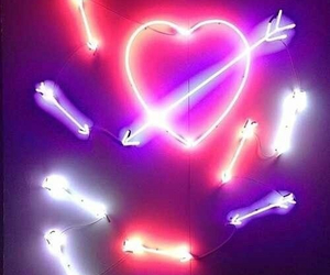 neon, heart, and love image