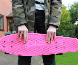 pink, penny board, and girl image