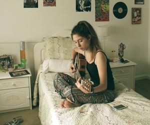 girl, guitar, and room image