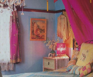 bohemian, bed, and bedroom image