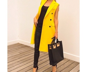 coat, leather, and yellow image