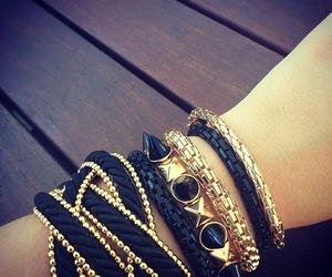 bracelet, black, and gold image