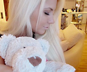 blonde, girl, and teddy bear image