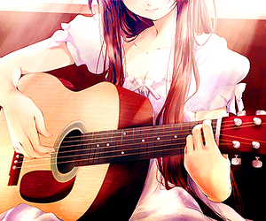 guitar, girl, and anime image