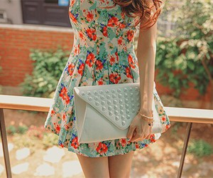 floral dress, studs, and color image