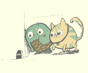 cat, illustration, and owl image