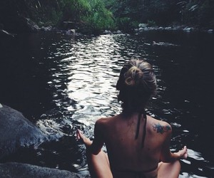 girl, nature, and relax image