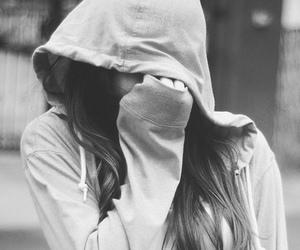 girl, black and white, and sad image