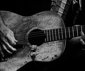guitar, willie nelson, and black and white image
