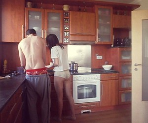 boyfriend, cook, and couple image