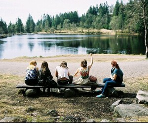 friend, lake, and friends image