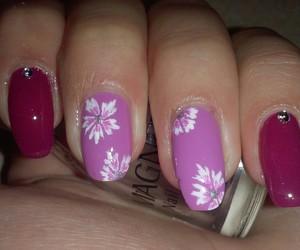 manicure, pink, and floralnails image