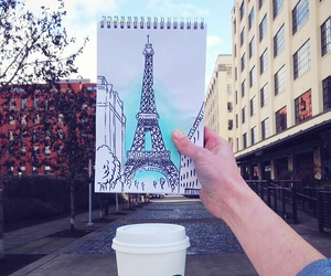 drawing, paris, and starbucks image