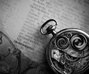 black and white, clock, and vintage image