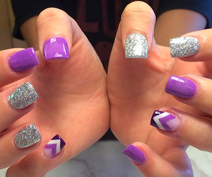 nails, purple, and silver image