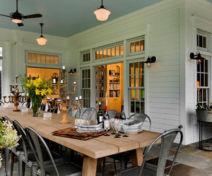 exterior, pendant lighting, and traditional porch image