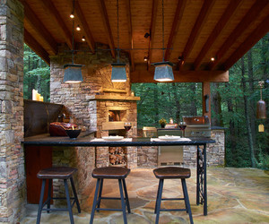 exterior, pendant lighting, and wooden materials image
