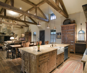 rustic pendant, kitchen, and rustic kitchen image