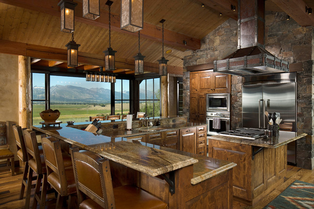 Rustic Kitchen Design With View Due To Large Glass Window ...