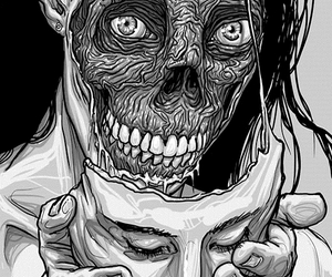 face, black and white, and art image