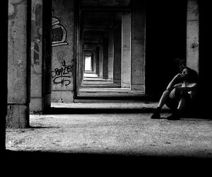 alone, b&w, and boy image