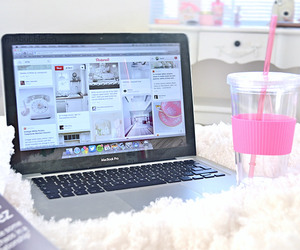 pink, laptop, and drink image