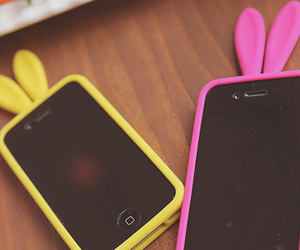 iphone, pink, and yellow image