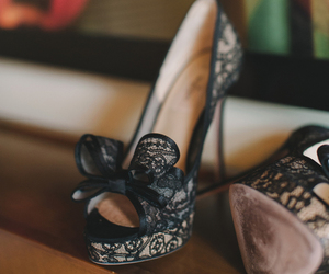 heels, lace, and black image